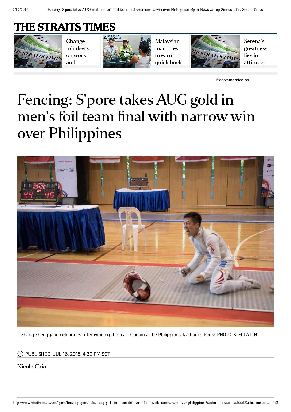 Fencing_ S pore takes AUG gold in men s foil team final with narrow win over Philippines, Sport News & Top Stories - The Straits Times-page-001